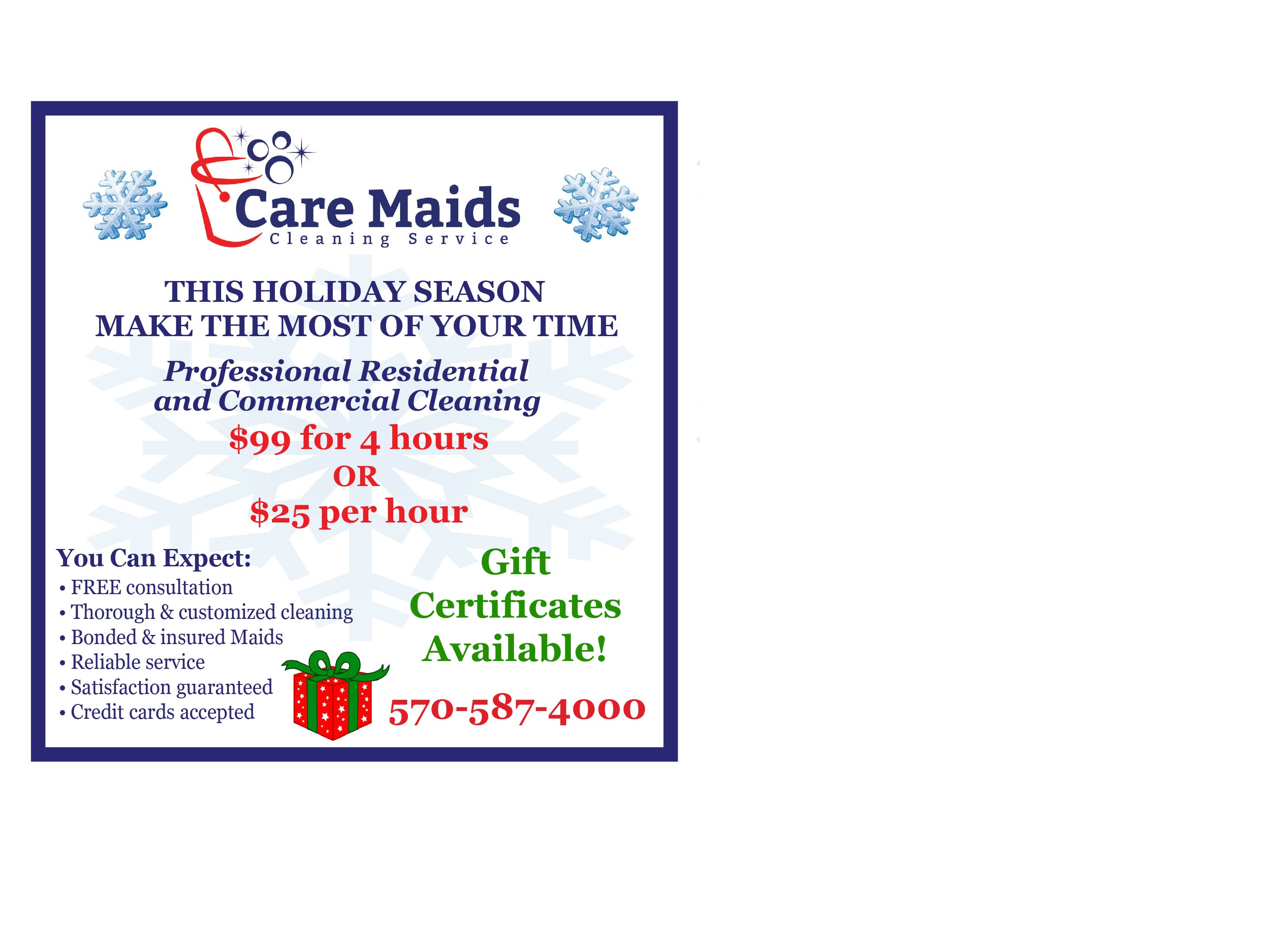 care maids cleaning service holiday rates caregivers america caremaids dec ad 2016